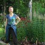 lydia in the butterfly garden