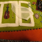 detail of embroidered fiddle cover that Lena made for Gunnar
