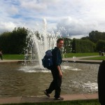 walking along one of the fountains