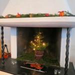 fireplace with festive seasonal decor