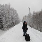 Elin on her way home to Uppsala