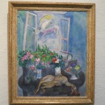 "my favorite thing about this Chagall: despite the flying cow, it is just named ""flowers and fowl"""